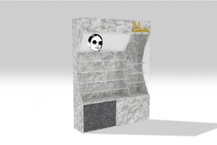 PR24 Présentoir incurvé effet marbre gris