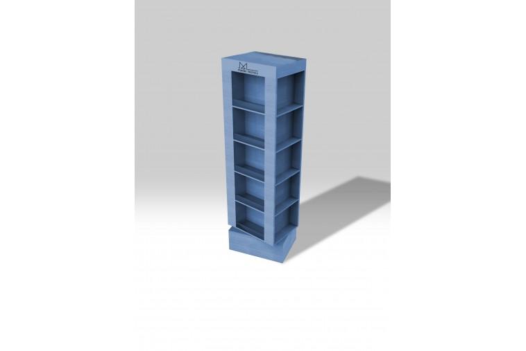 PR30 Présentoir colonne effet bois bleu