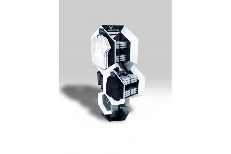 PR37 Présentoir géométrique blanc et noir