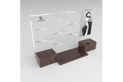 PR6 Présentoir rectangulaire transparent et imitation bois