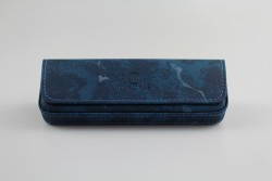 SH8122BL Étui à lunettes souple bleu effet tacheté