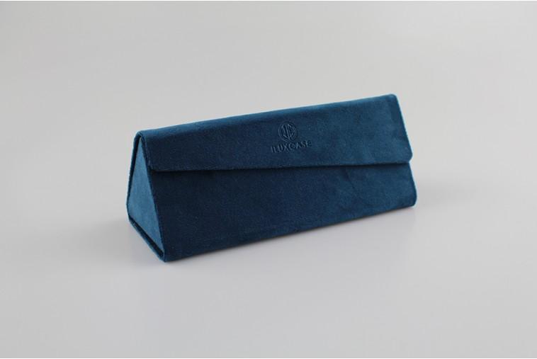 SH8116 Étui à lunettes triangulaire en velours bleu