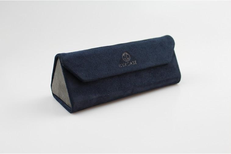 SH8077B Étui à lunettes triangulaire en velours bleu marine
