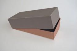 BOX-23 Boîte bicolore grise et rose avec fermeture cloche